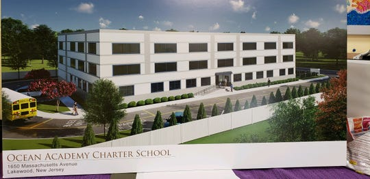 An architectural rendering shows a proposed school that would house the growing Ocean Academy Charter School in Lakewood.