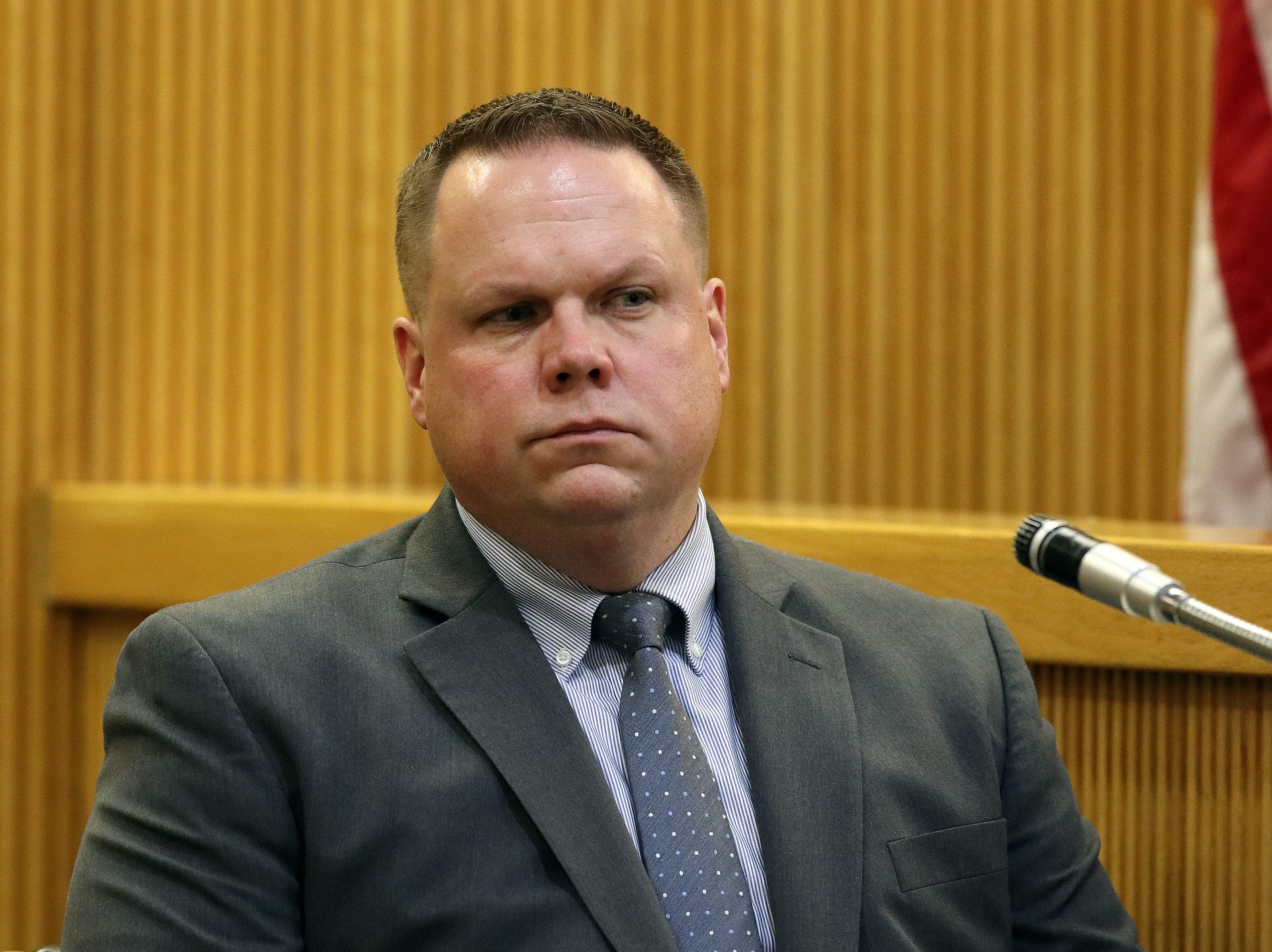 Detective SGT Ryan Muller of the Monmouth County Prosecutor's Office, testifies during the trial of Liam McAtasney, who is charged with the murder of former high school classmate, Sarah Stern, before Superior Court Judge Richard W. English at the Monmouth County Courthouse in Freehold, NJ Wednesday, February 6, 2019.
