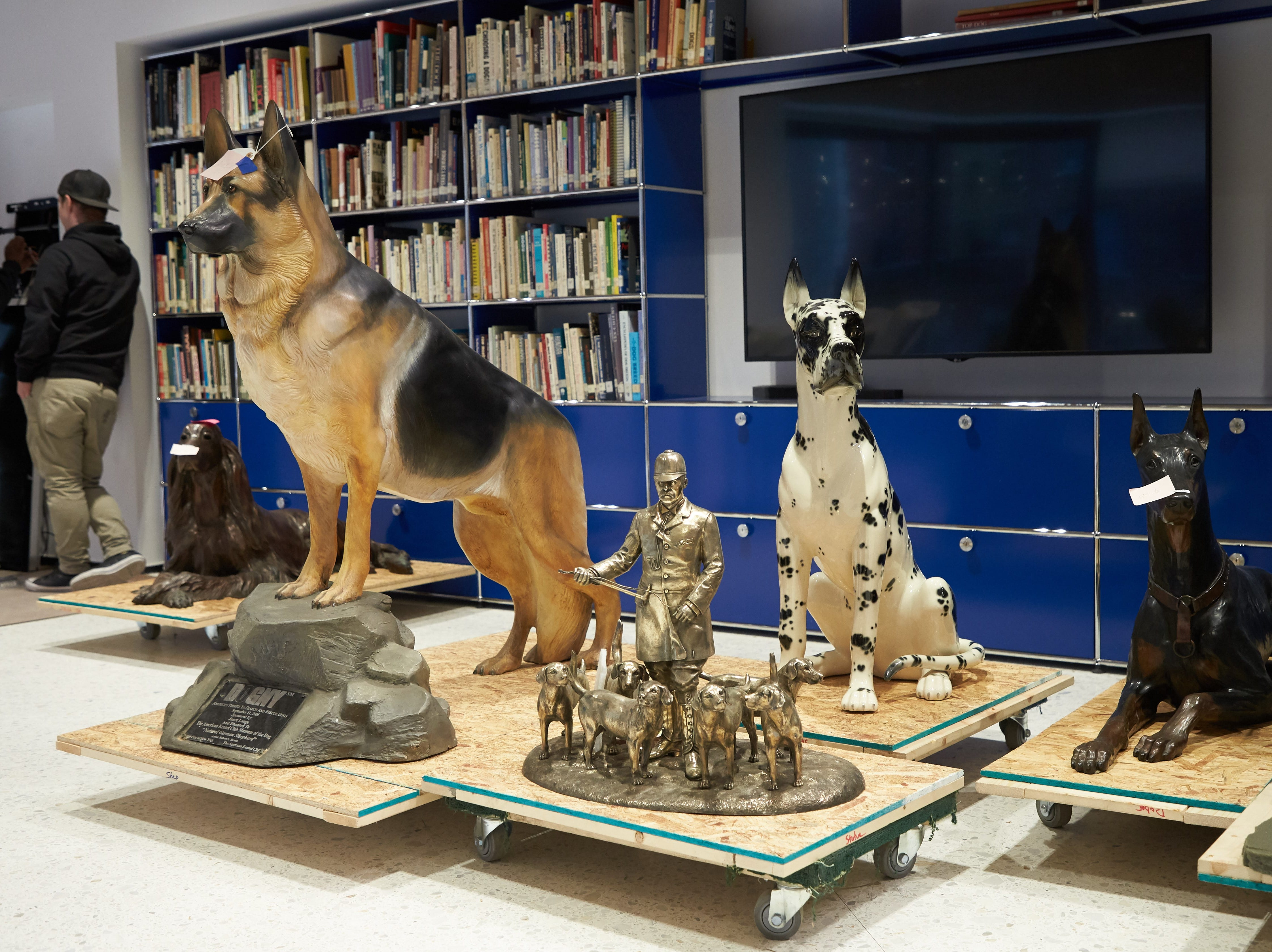Sculptures await installation at the Museum of the Dog.