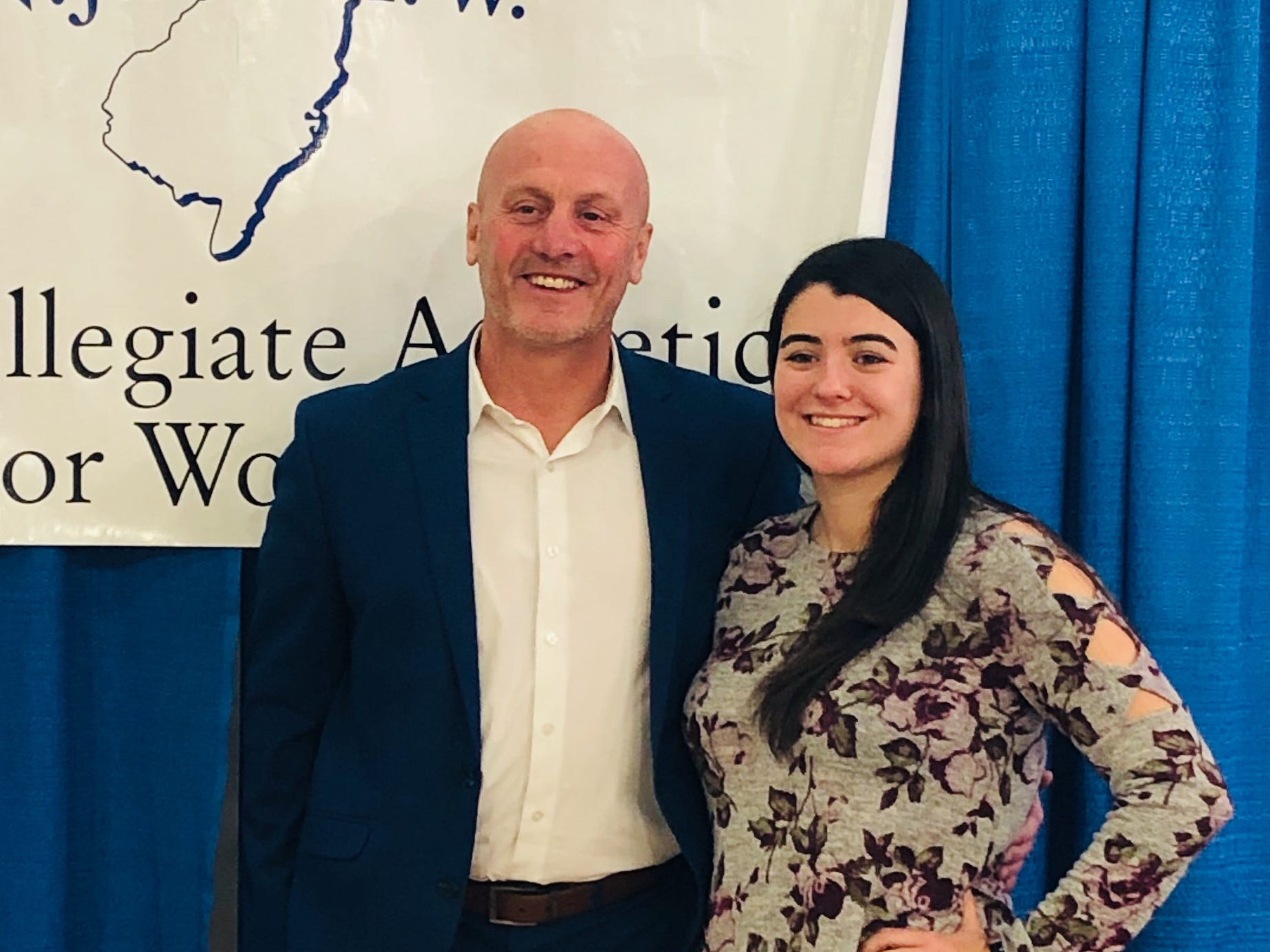 Toms River native Sam Bombardiere (right)  with Ken Davies, her soccer coach at Centenary University.