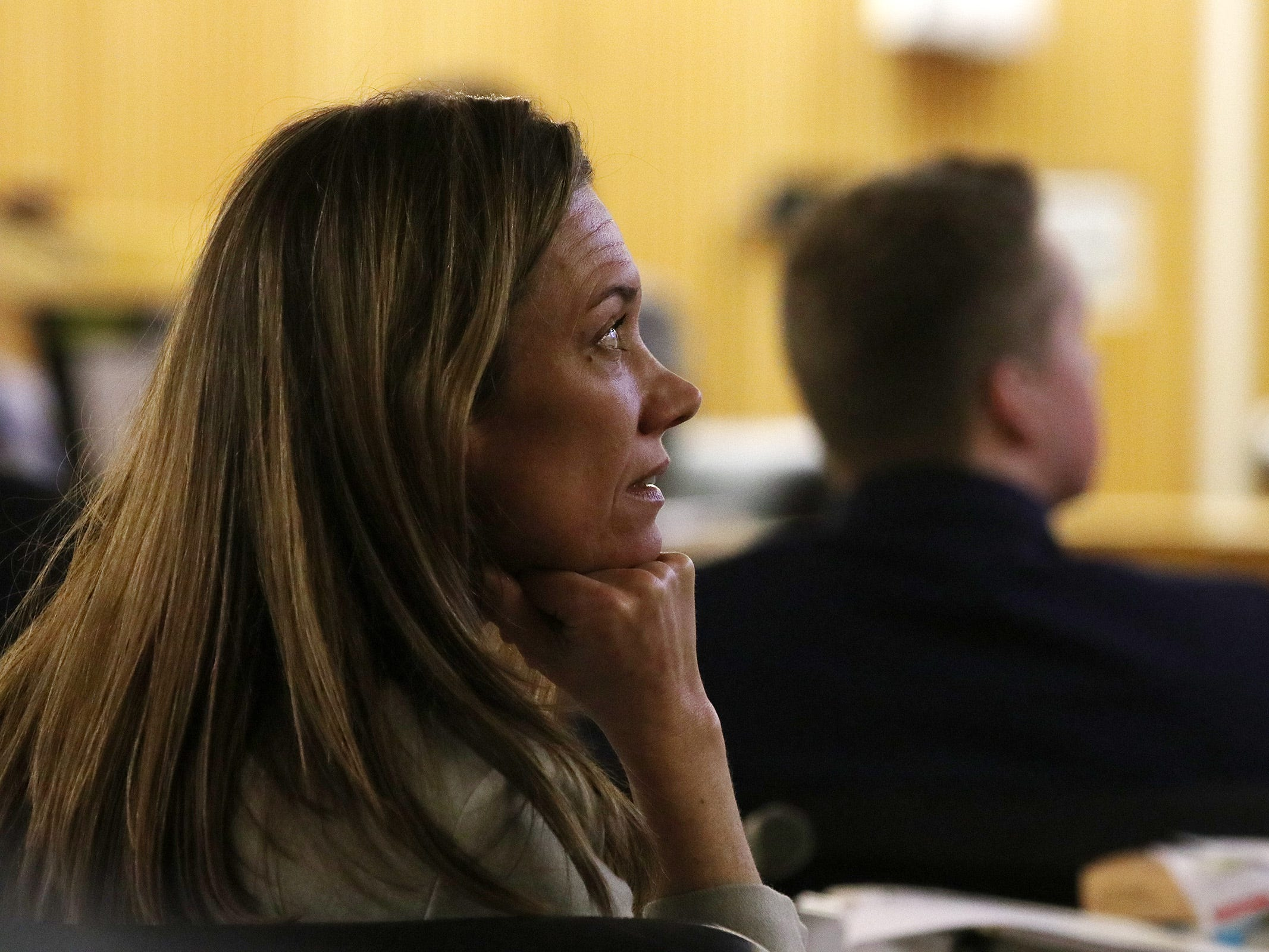 Meghan Doyle, assistant Monmouth County prosecutor, watches as an interview between Liam McAtasney and detectives at the Belmar police station on December 6, 2016 is played during the trial of Liam McAtasney, who is charged with the murder of former high school classmate, Sarah Stern, before Superior Court Judge Richard W. English at the Monmouth County Courthouse in Freehold, NJ Wednesday, February 6, 2019.