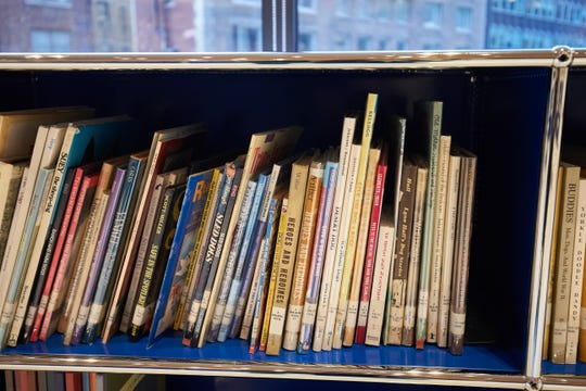 Children's books in a library.