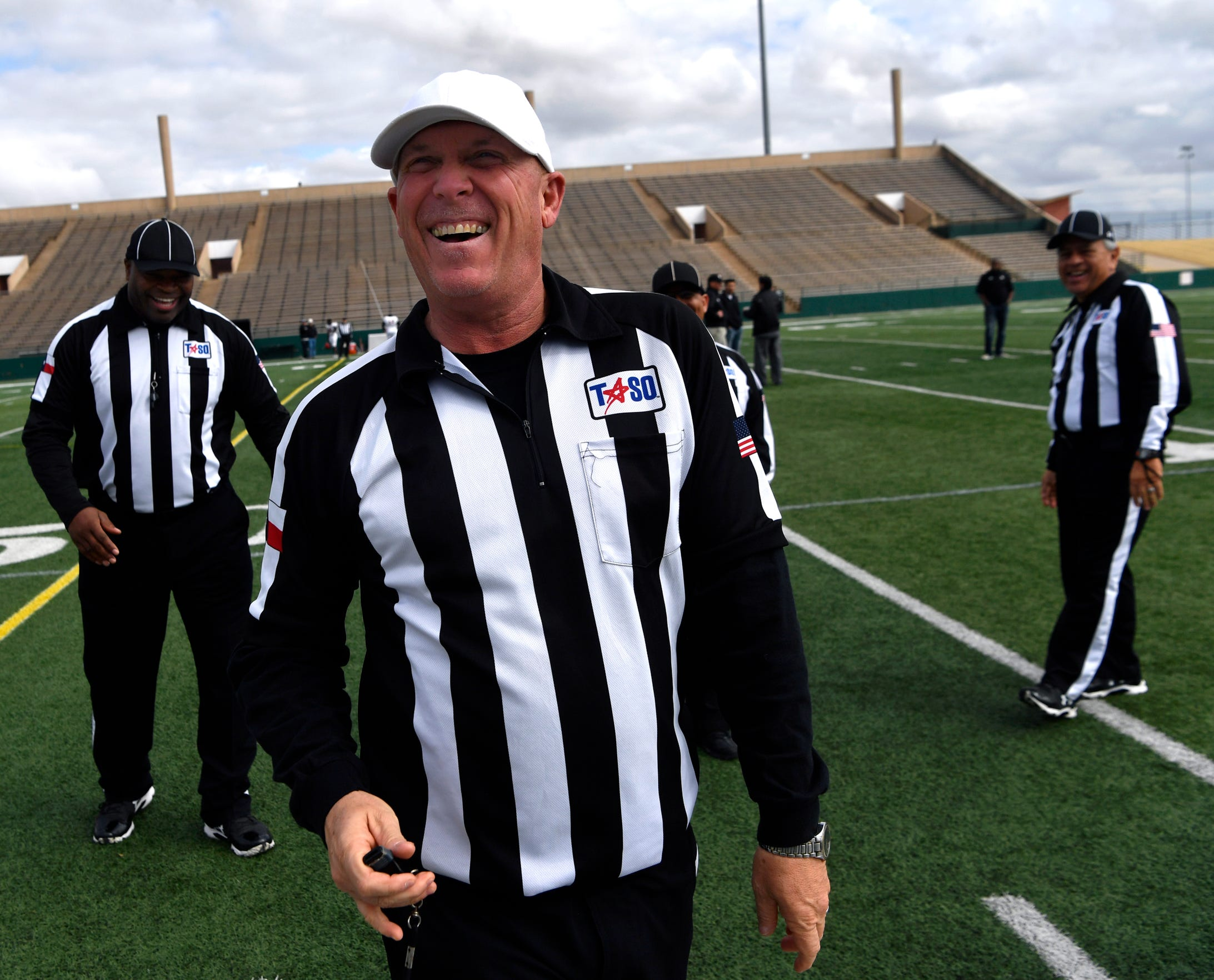 """Former Abilene High School head football coach Steve Warren waits for filming to begin Feb. 2 at Shotwell Stadium. Warren was head coach during the Eagles' 2009 championship season, on which the movie """"Brother's Keeper"""" is based."""