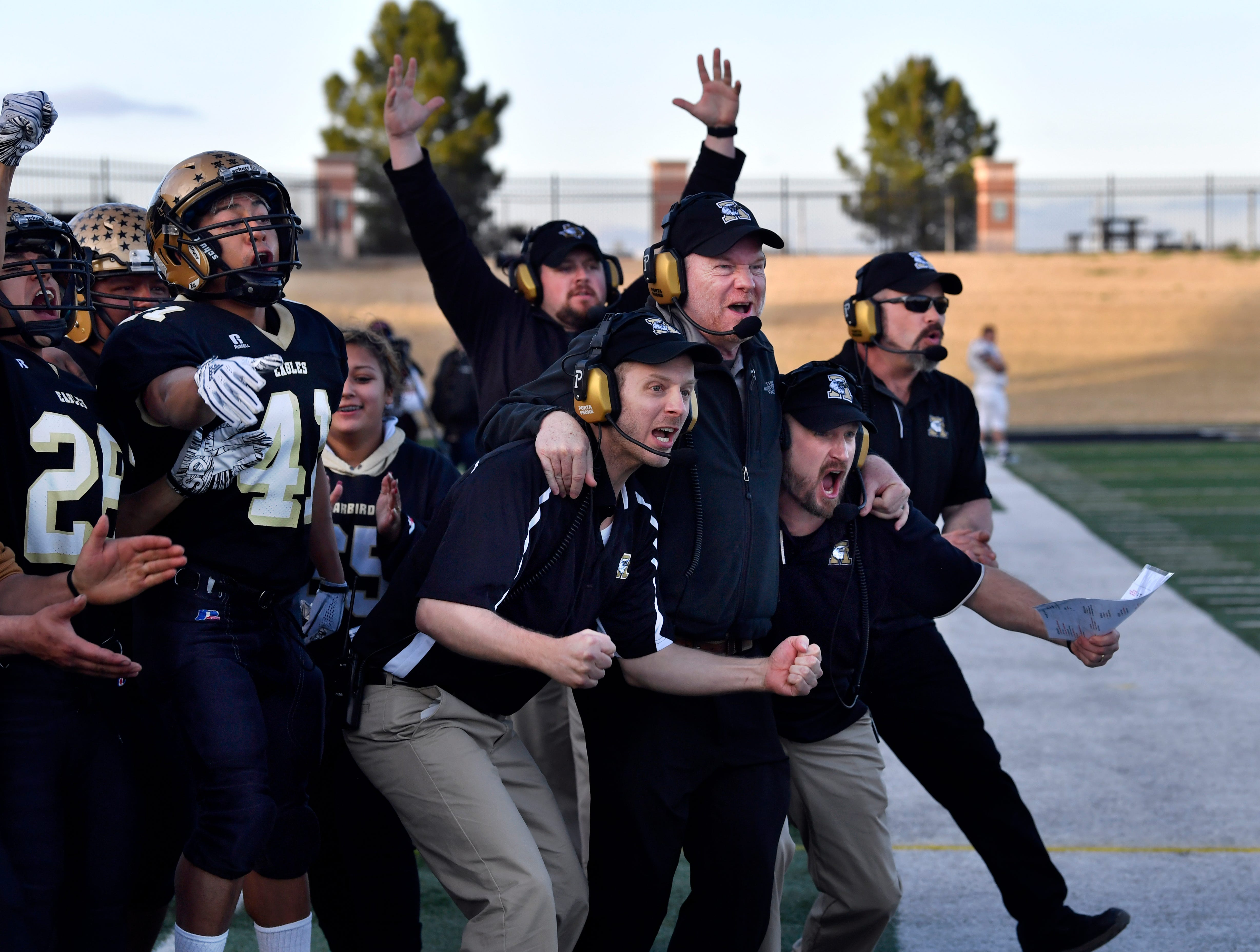 """Actors recreate the celebration of Herschel Sims' game-turning 95-yard touchdown during """"Brother's Keeper"""" filming Saturday Feb. 2, 2019. The film recreates the Abilene High School Eagles 2009 championship football season."""