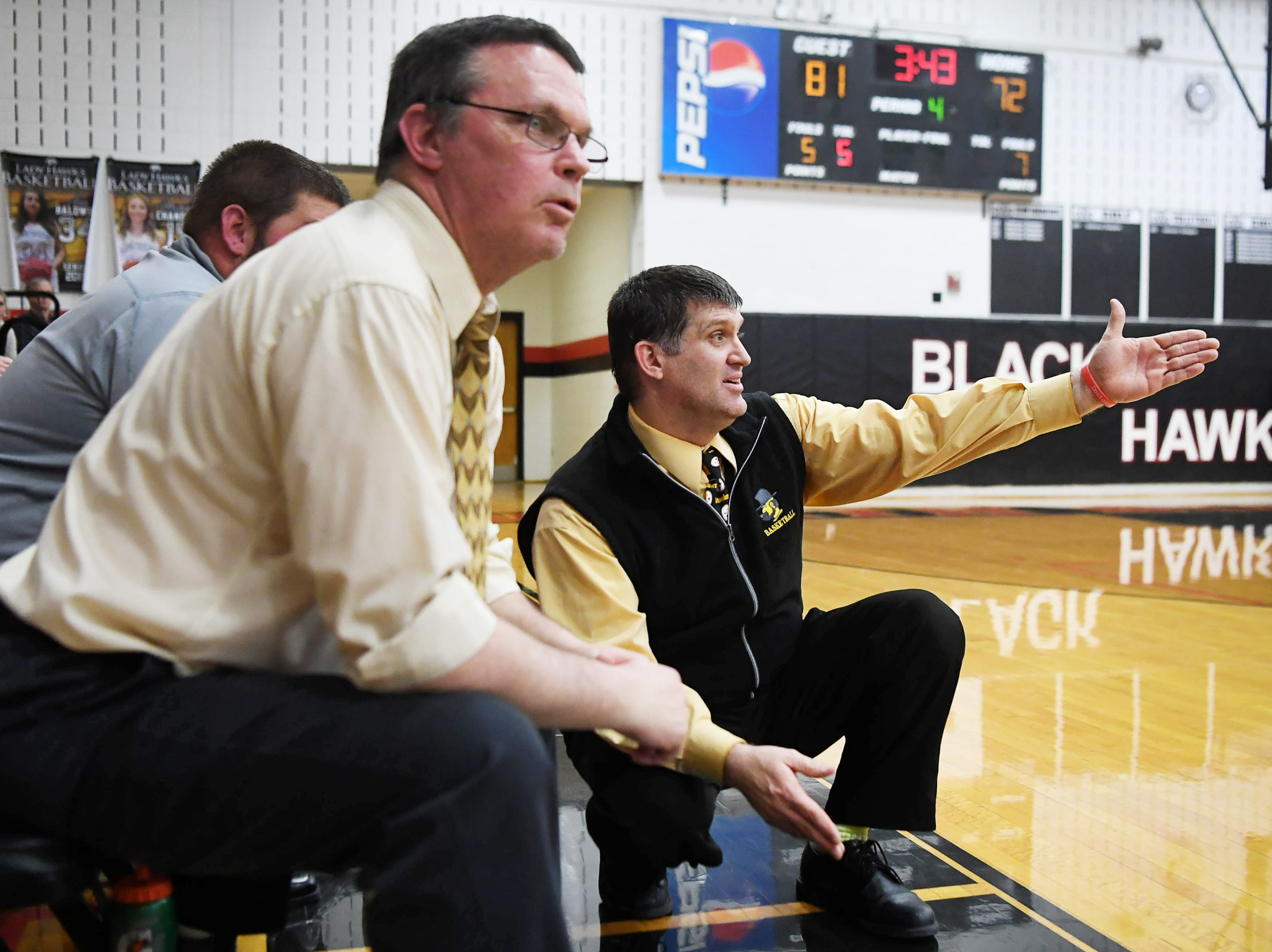 Tuscola's Nathan Messer reacts from the sidelines as he watches from the sidelines in the game against North Buncombe in Weaverville Tuesday, Feb. 5, 2019.