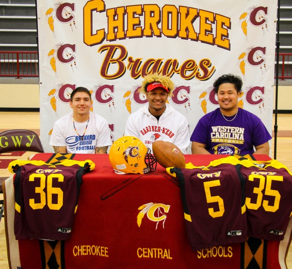 Three Cherokee Braves signed to play football at the next level on National Signing Day on Wednesday, Feb. 6 at the Charles George Memorial Arena including Damian Blanton (Brevard College), Isaiah Evans (Gardner-Webb University), and Joaquin Layno (Western Carolina University).