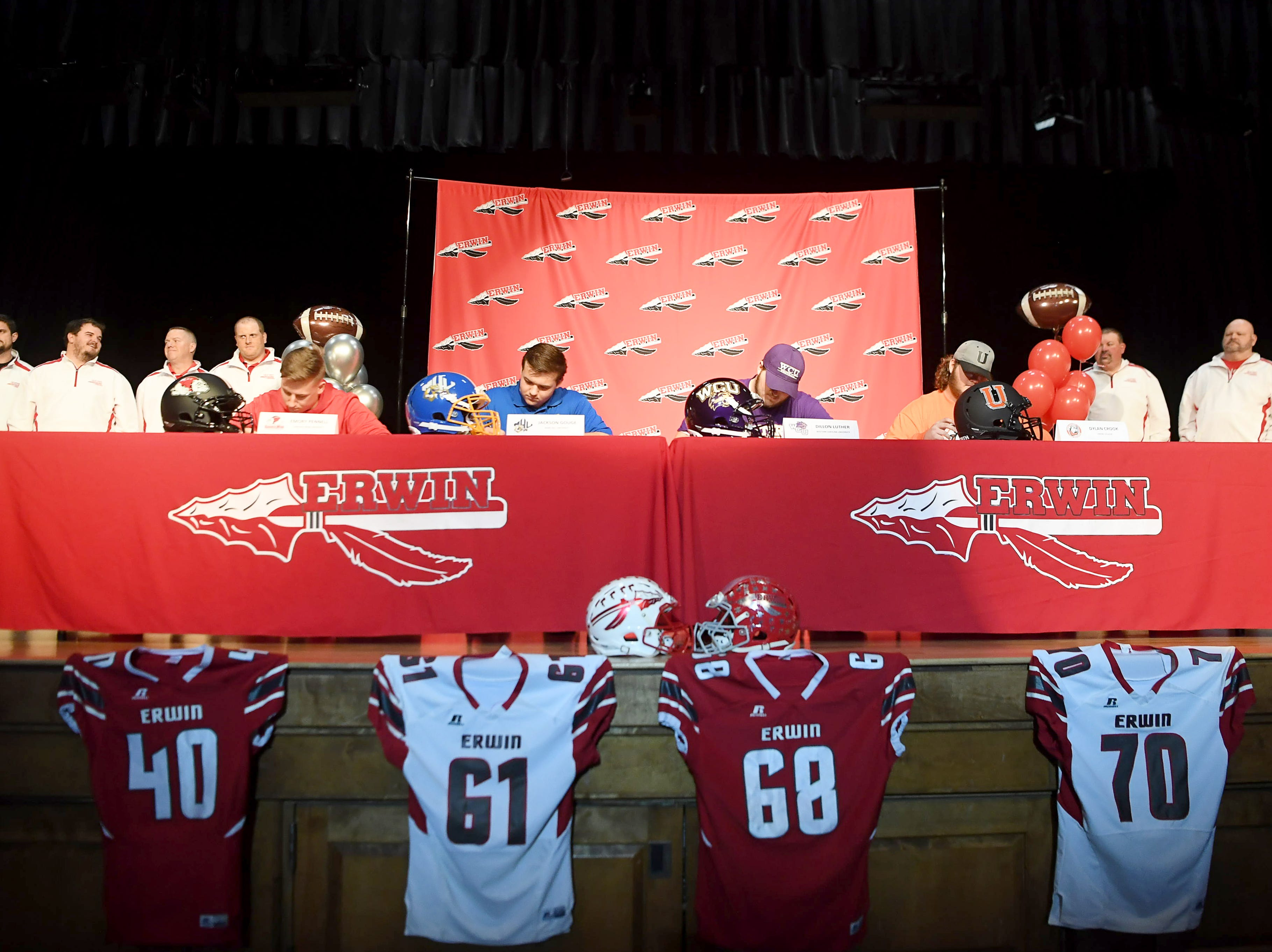 Erwin celebrated National Signing Day on Wednesday, Feb. 6, 2019. Those who signed were Emory Pennell, who signed with Gardner-Webb University, Jackson Gouge, who signed with Mars Hill University, Dillon Luther, who signed with Western Carolina University, and Dylan Crook who signed with Union College.Erwin seniors celebrated National Signing Day by signing to their respecitve colleges. Seated, from left, are Emory Pennell, who signed with Gardner-Webb University, Jackson Gouge, who signed with Mars Hill University, Dillon Luther, who signed with Western Carolina University, and Dylan Crook who signed with Union College.
