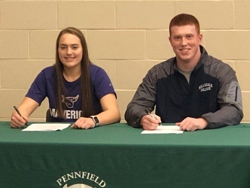 Pennfield's Alicia Lake and Ben Geno sign their National Letters of Intent. Lake is going to Minnesota State and Geno is going to Hilsdale College.