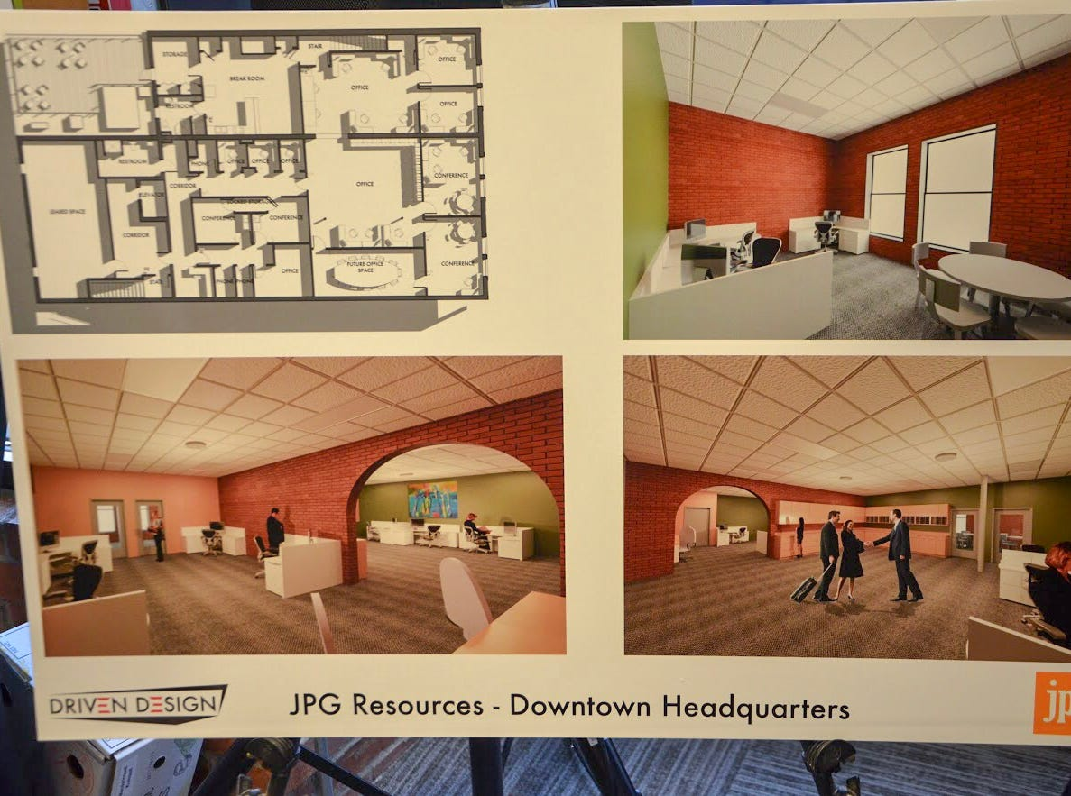 JPG Resources, a food business consulting company, held an open house in its new building on Tuesday, Feb. 5, 2019, displaying renderings of what the building will look like after remodeling. The company expects to move in around late March, early April.