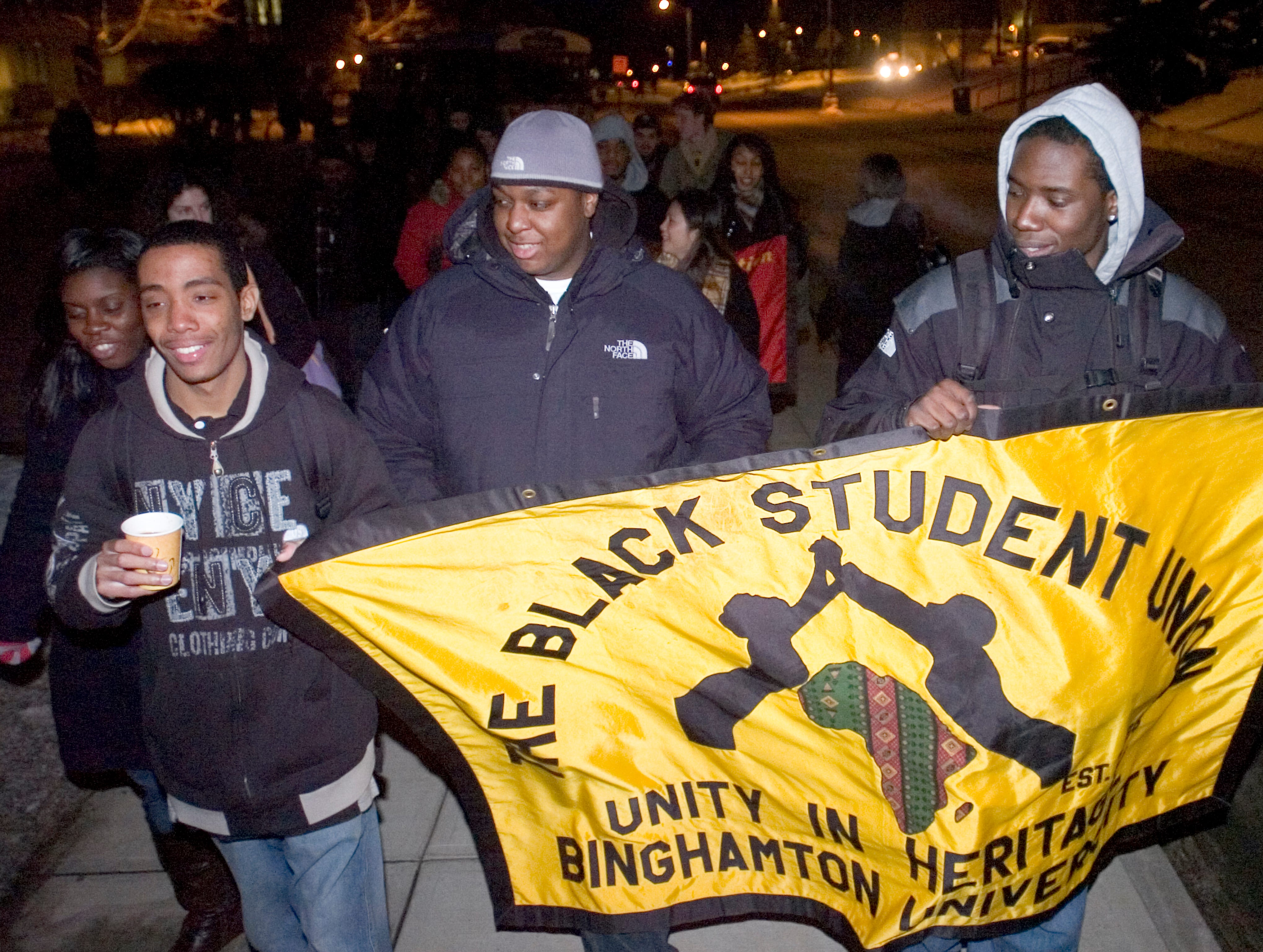 2008: Binghamton University's Black Student Union members Jasen Pascal, left, Carl McVay and Nnamdi Ude participate in the annual march around the campus Thursday in Vestal. The event is held as a celebration of campus unity and concludes the organization's Black History Month observance.