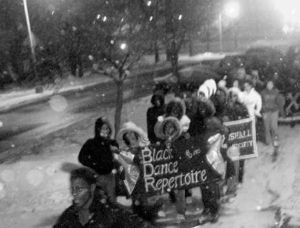 2005: About 50 students participated in a unity march held by Binghamton University's Black Student Union Thursday in conjunction with the celebration of Black History Month in the Vestal campus.