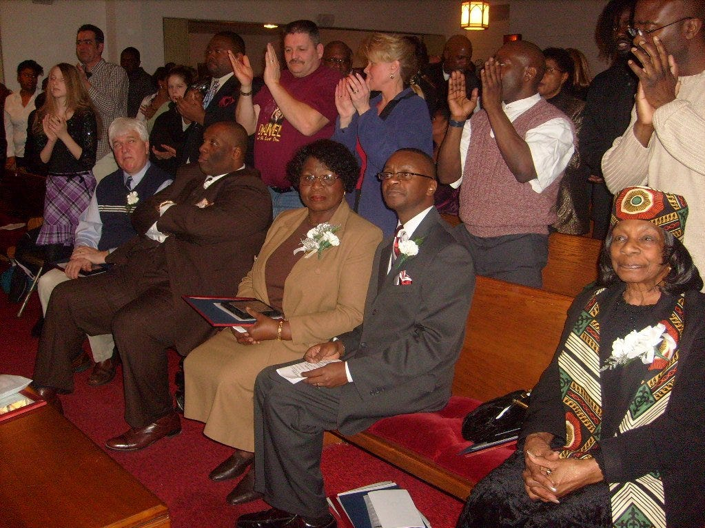 2008: Five local residents were honored during a Black History Month event at Monumental Baptist Church in Elmira. The five people, seated from left, are Scott Forbes of the Crisis Program at Family Services of Chemung County; the Rev. Joseph Covington, pastor of Friendship Baptist Church in Corning; Shirley Williams of Elmira, honored for preparing food for more than 700 people during a Martin Luther King Jr. Day celebration; Claude Oliver, a church elder and the director of the youth department at Faith Temple Community Church in Elmira; and Martha Daley of Elmira, honored for giving gifts to the needy throughout the year.