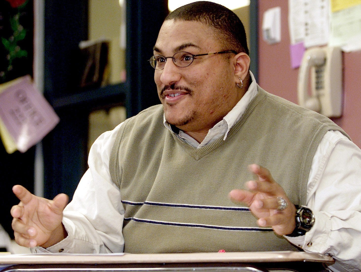 2001: David Perkins, an Ernie Davis Middle School history teacher, leads a class discussion on Thursday morning about Black History Month.