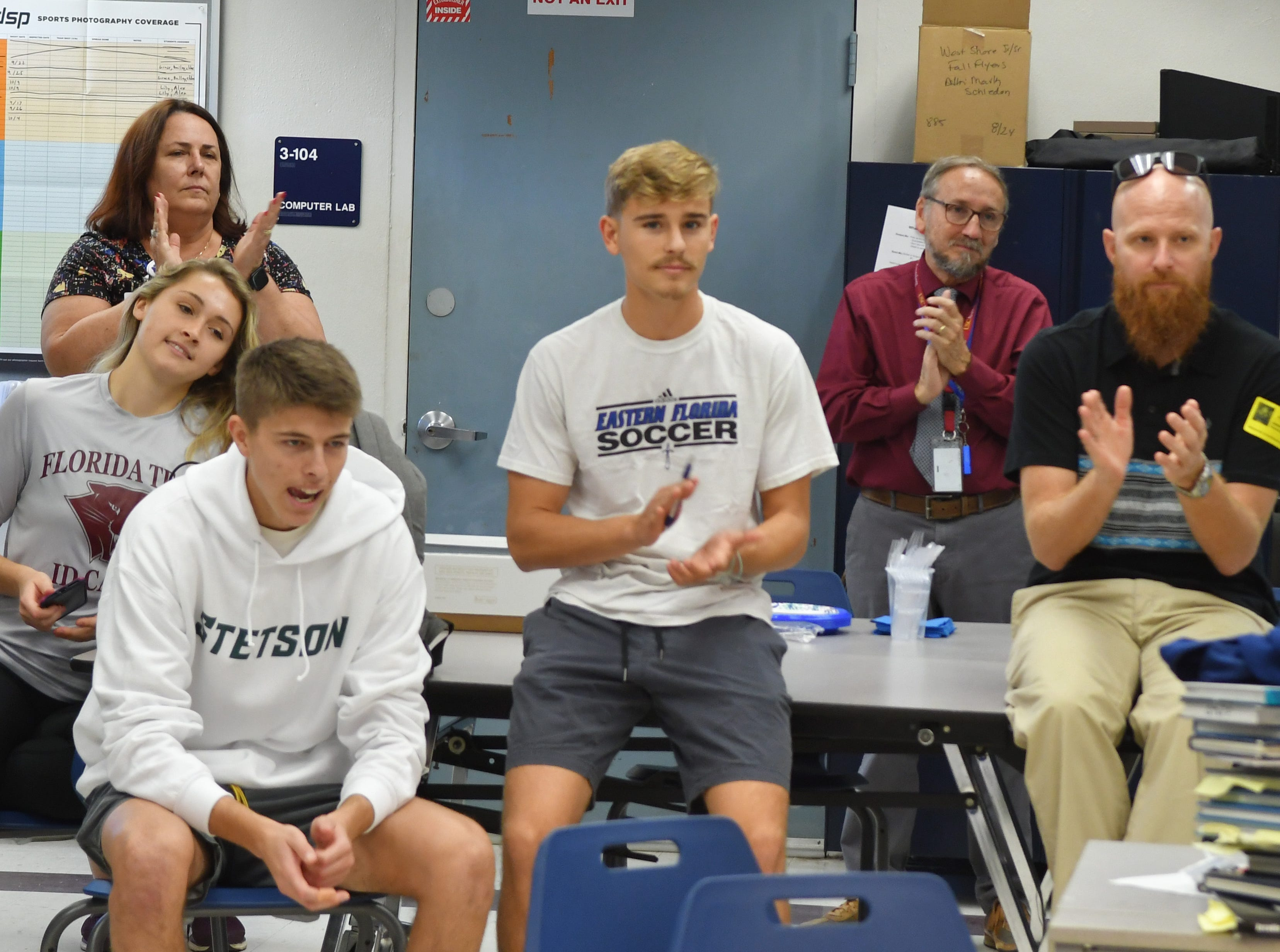 Five soccer athletes from West Shore Junior/Senior High School in Melbourne signed letters of intent on Wednesday. Avery Kloeppel, Florida Tech, Cameron Yeutter, Collin Robidoux and Ian Leighton, all for Eastern Florida State College, and Chase Hester, for Stetson University.