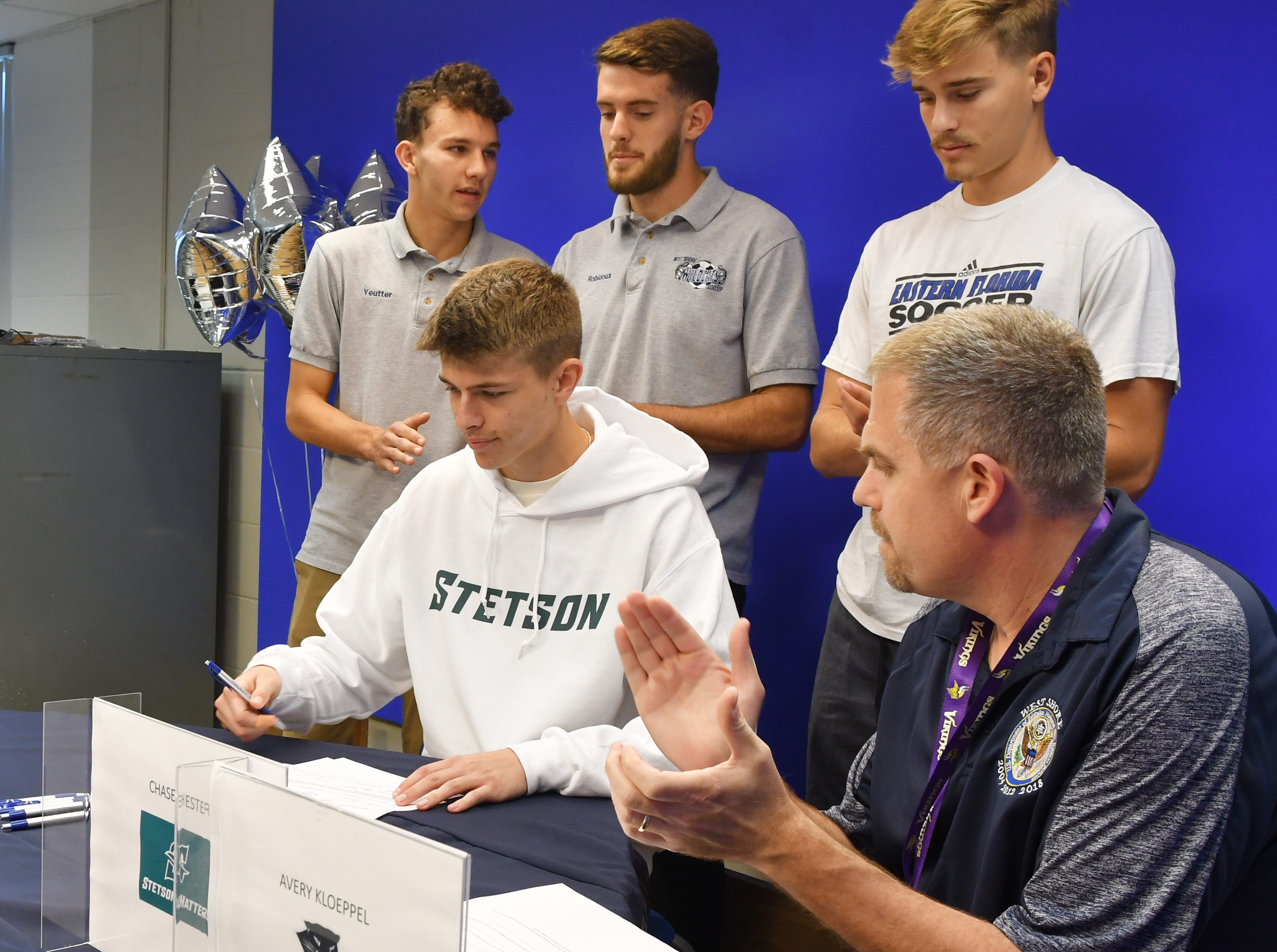 Chase Hester signs for Stetson University.  Five soccer athletes from West Shore Junior/Senior High School in Melbourne signed letters of intent on Wednesday.