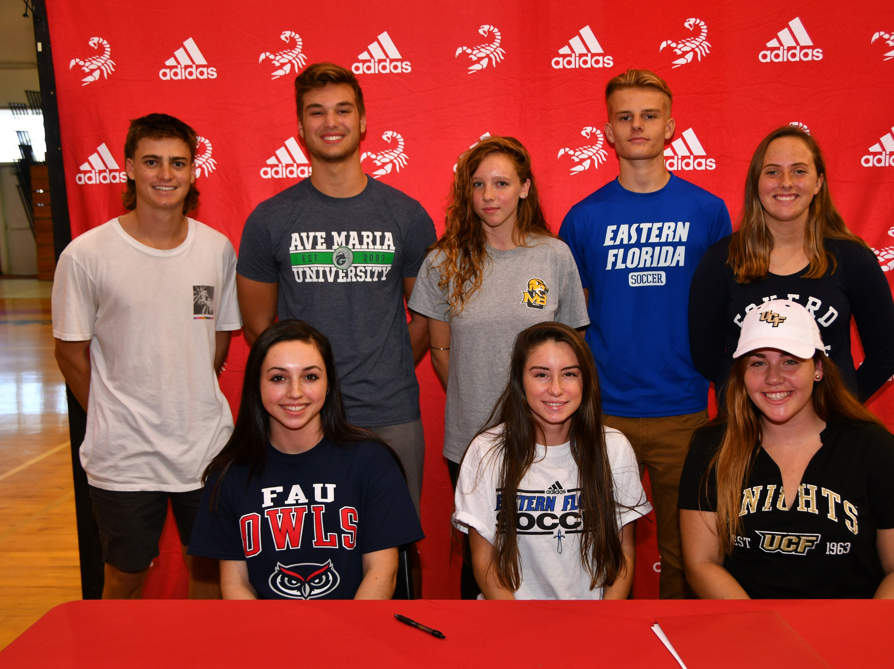 Satellite Had seven students sign letters of intent on Wednesday. Front row seated: Marie Groppel, Melissa Marler and Karly Smith. Back row: Zack Kornick, Jackson Hinkell, Kloey Marsh, John Stromenger and Morgan Flemming.