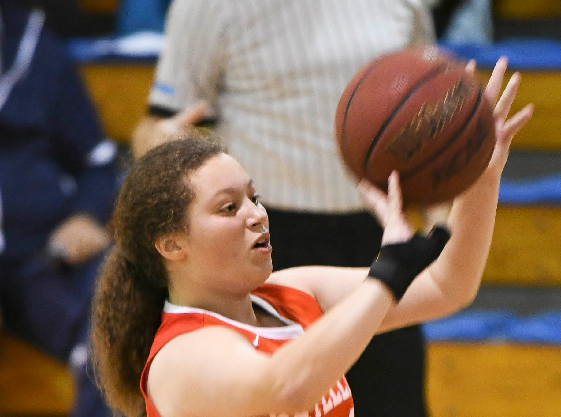 Alyssa Hines of Satellite takes a shot during Tuesday's district tournament game at Rockledge High