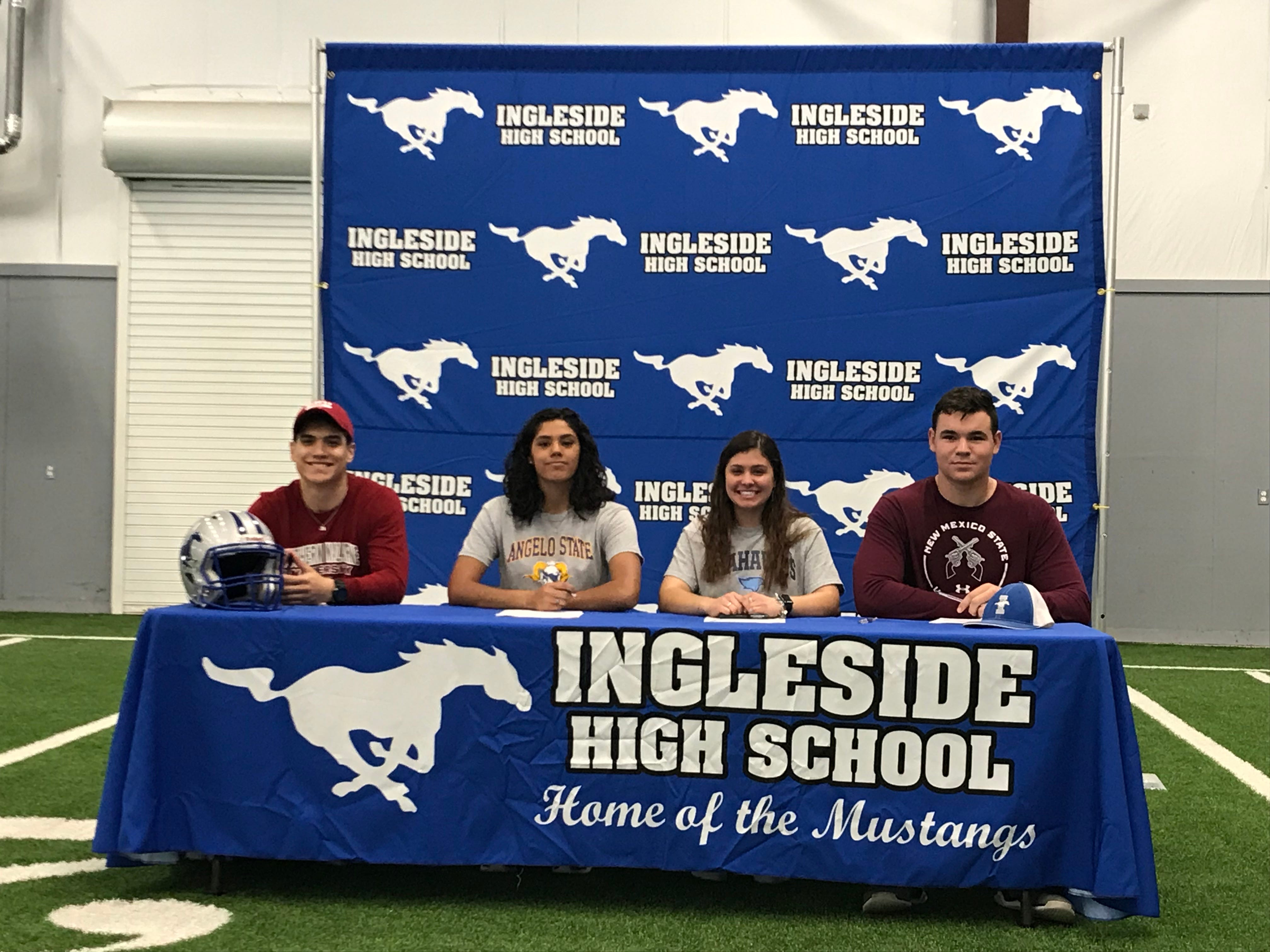 Ingleside athletes Robert Eppard (Southern Nazerene, football), Abby Perez (Angelo State, track & field), Maleia Taylor (Lamar State College, softball) and Marlin Johnson (football, New Mexico State) signed letters of intent on Wednesday, Feb. 6, 2019, at the Ingleside High School Sports Complex.
