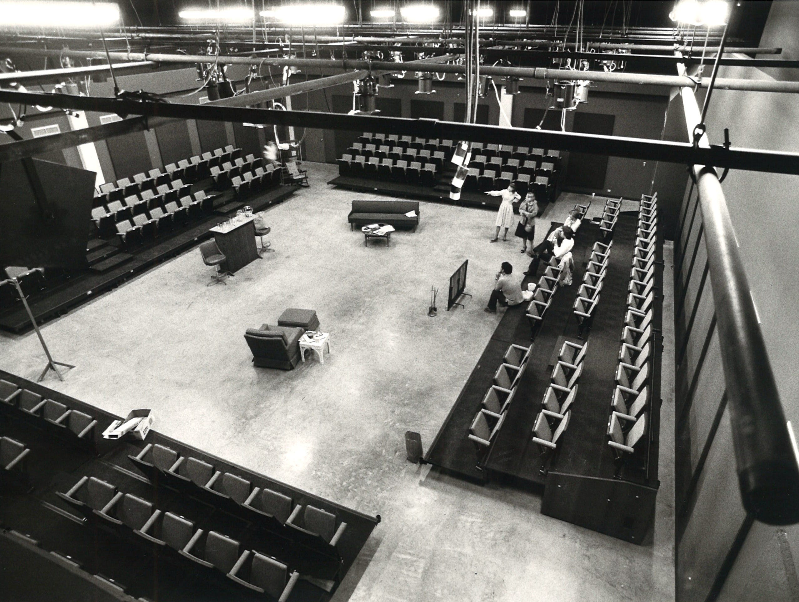 Rehearsal takes place in the experimental theater space at Corpus Christi State University's Center for the Arts building in March 1979.
