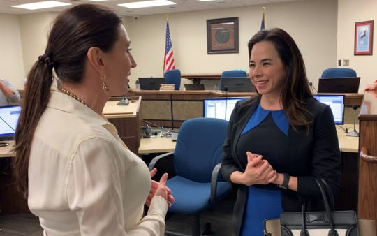 Catherine Tobin Hilliard, at right, speaks with Nueces County Judge Barbara Canales. Hilliard was appointed Feb. 6, 2019, to fill the remainder of Canales' former seat on the Port of Corpus Christi Commission.