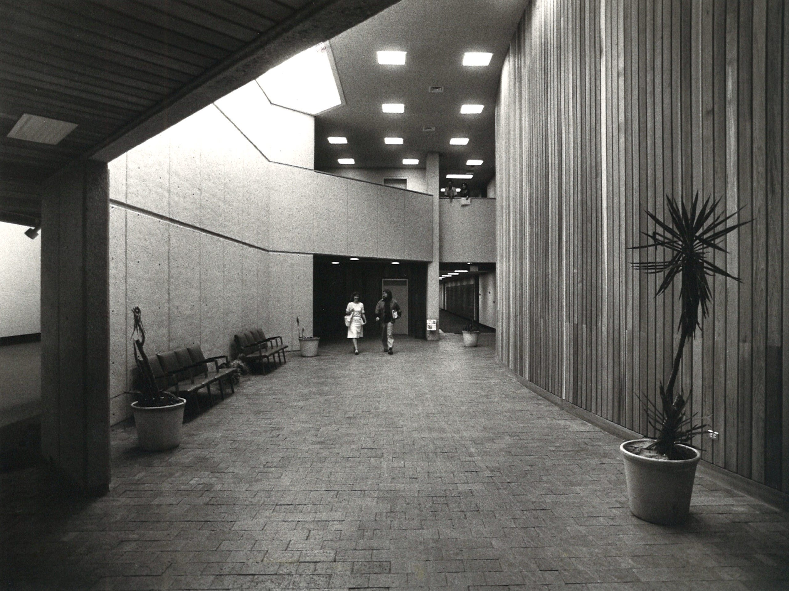 The lobby of the Center of the Arts building on Corpus Christi State University campus in March 1979. Gallery space is on the left and theater space on the right.