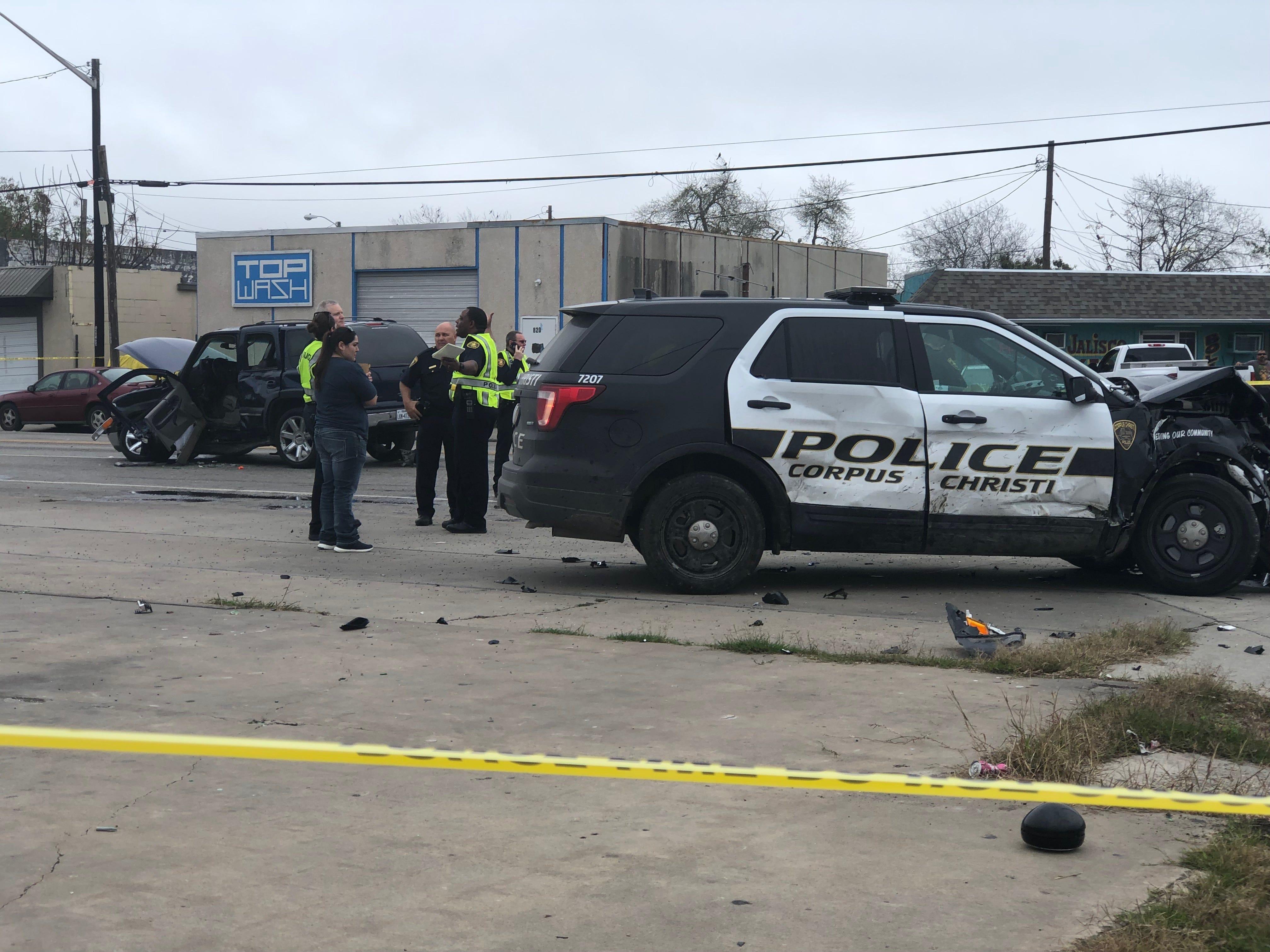 Corpus Christi police work a crash involving a marked patrol car on Port Avenue on Feb. 5, 2019.