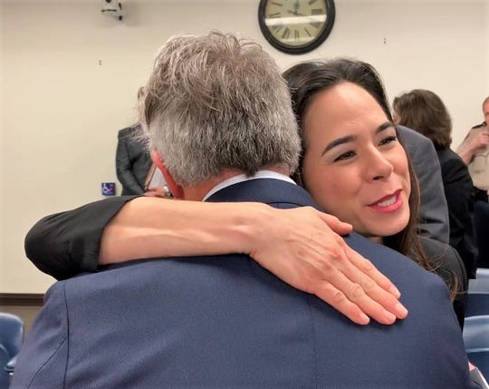 Catherine Tobin Hilliard is congratulated after being appointed by Nueces County Commissioners on Feb. 6, 2019 to serve as a commissioner for the Port of Corpus Christi.