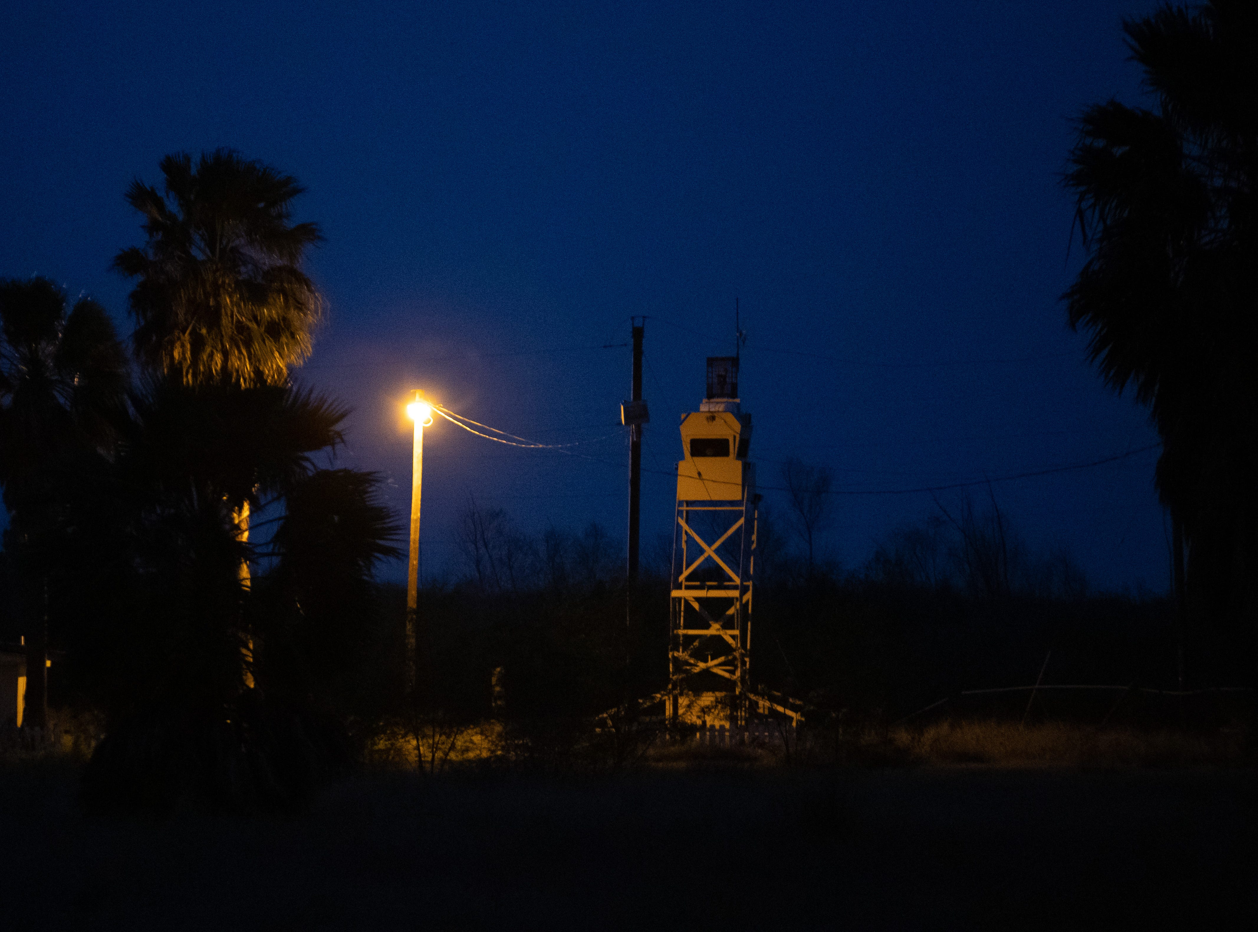 A Customs and Border Protection tower along the Rio Grande river near theLa Lomita Mission in Mission, Tx  on Tuesday, Feb. 5, 2019.