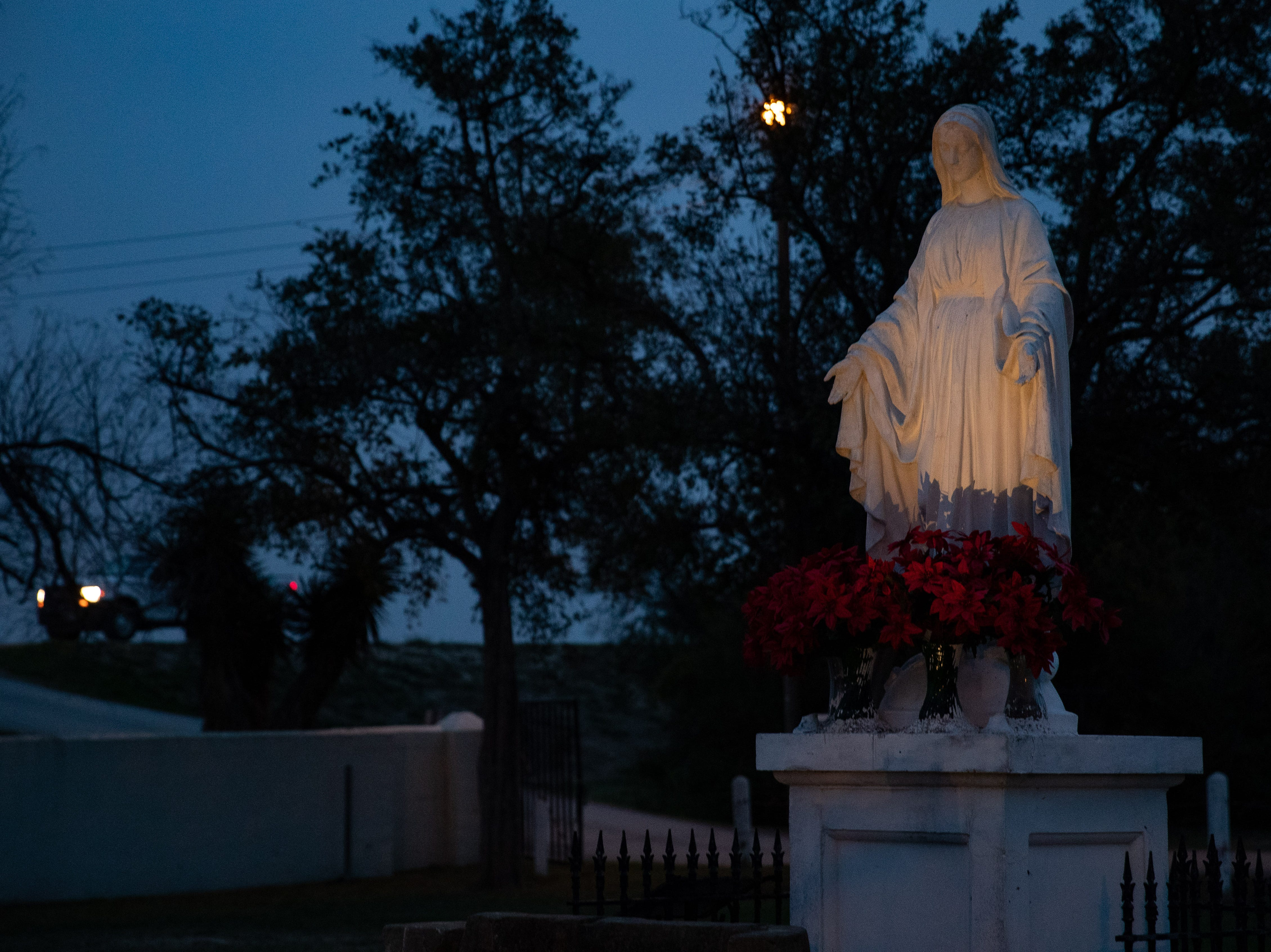 Statue of the Virgin Mary at the La Lomita Chapel I Mission Texas.