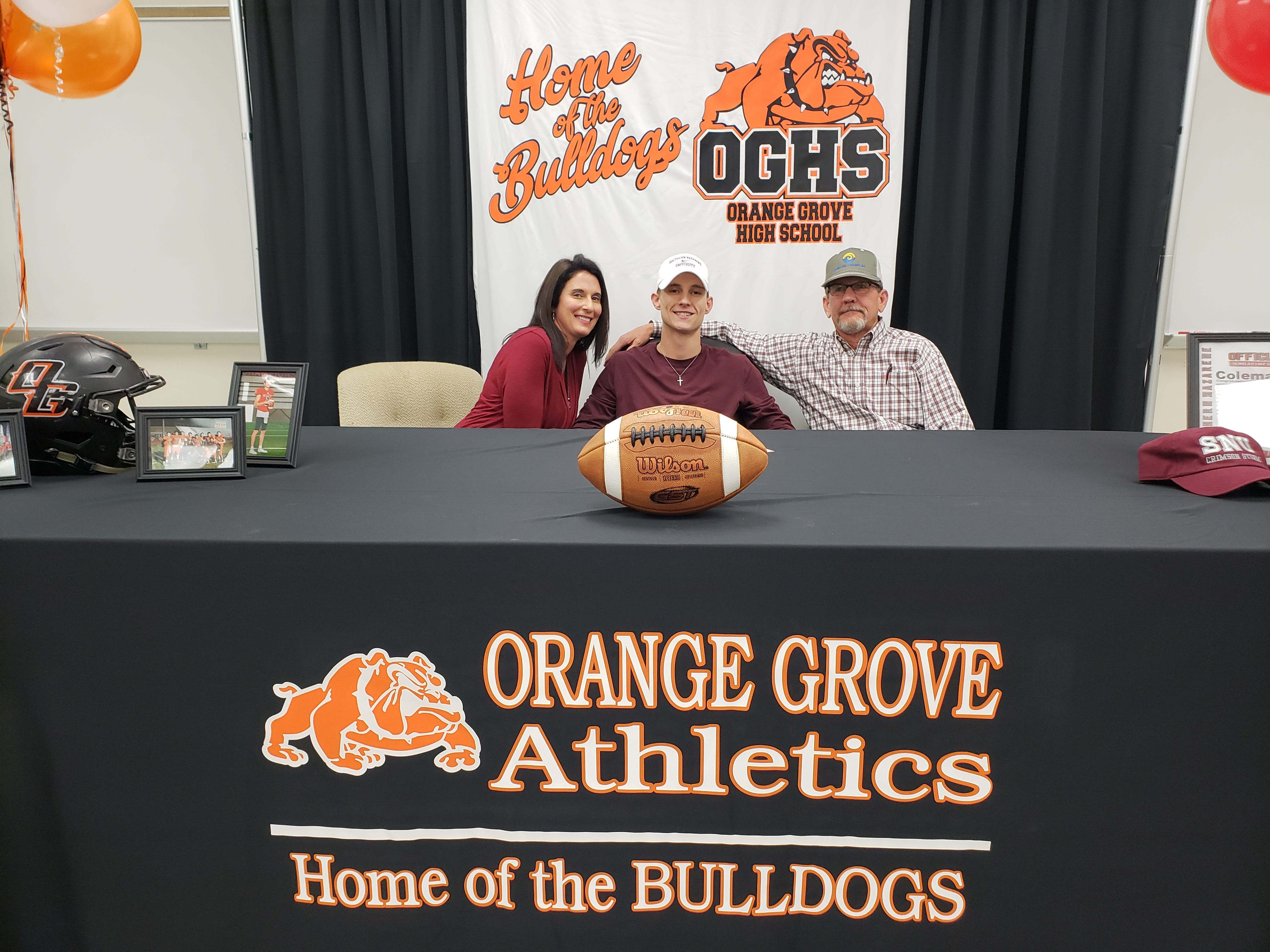 Orange Grove quarterback Coleman King signed with Southern Nazarene University on Wednesday. King completed 167 of 296 passes for 2,237 yards and 20 touchdowns. He also rushed for 754 yards and nine touchdowns.