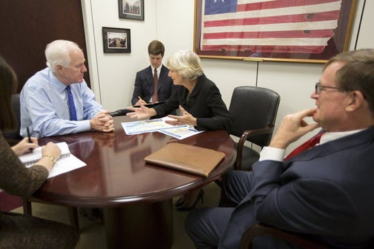 SUBMITTED PHOTO U.S. Sen. John Cornyn, R-Texas, met in Houston on Wednesday with Judy Hawley, chair of the Port Commission for Port Corpus Christi, to discuss the Corpus Christi Ship Channel Improvement Project.