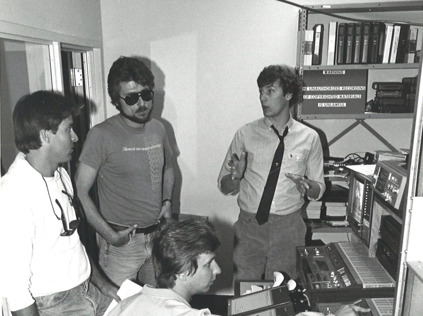 Planning a show for the new SwampGas Theatre are communications majors Paul Isham (left to right), Greg Spaulding, Gary Kline and Jim Short. The offbeat extracurricular group at Corpus Christi State University got the name because of the stench of driving by the Oso Bay area on the way to the school.