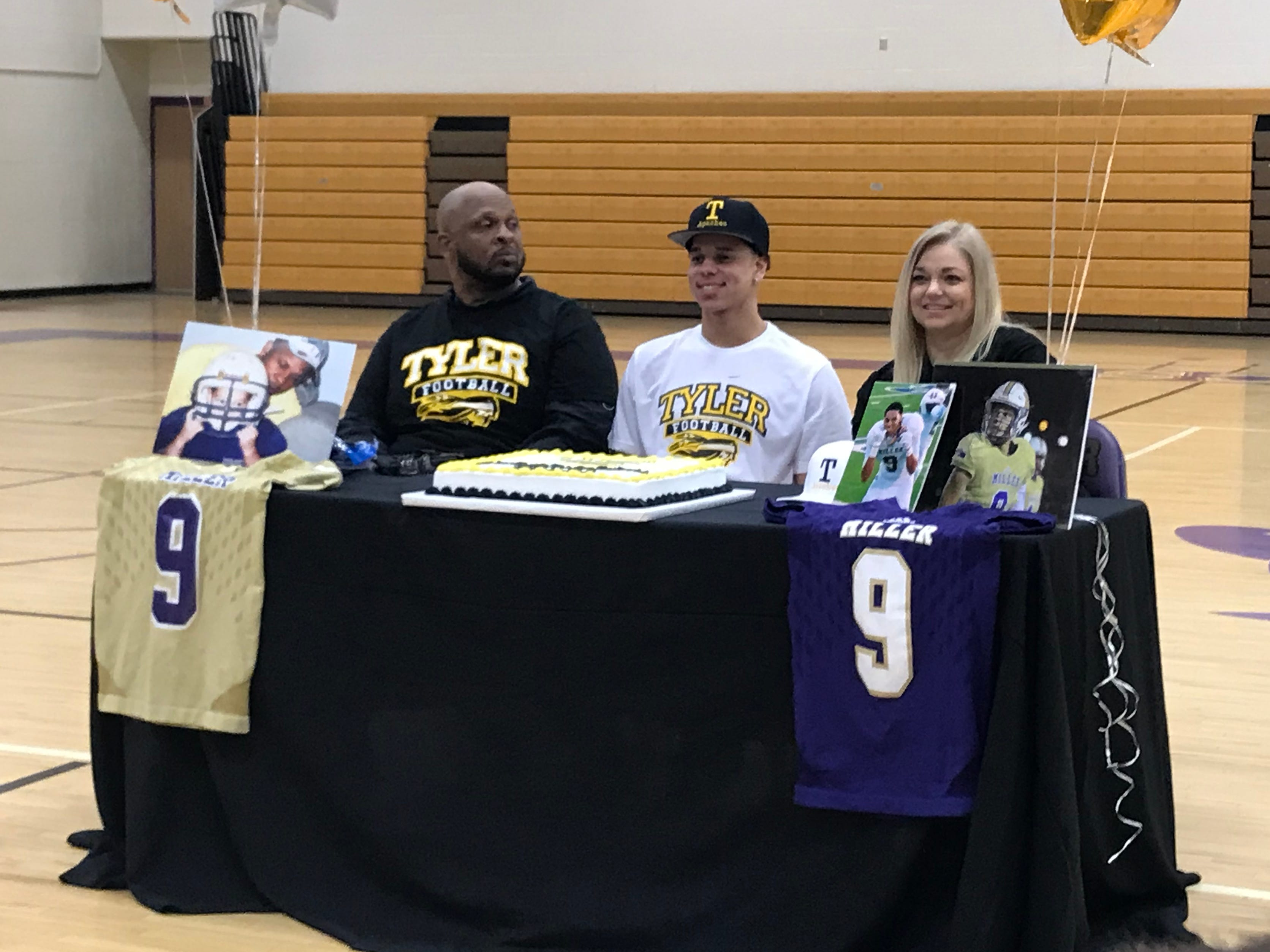 Miller defensive lineman Xxavier Watson signed with Tyler Junior College on Wednesday, Feb. 6, 2019 at Miller's Pete Ragus Gymnasium.