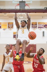 Glassboro's Keon Sabb dunks the ball during the 1st quarter of the boys basketball game between Glassboro and Penns Grove played at Glassboro High School on Tuesday, February 5, 2019.  Glassboro defeated Penns Grove, 55-39.