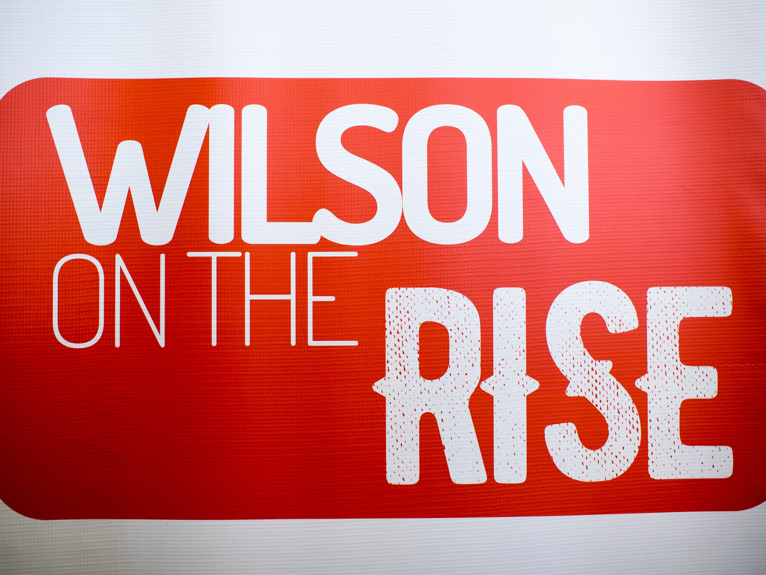 A sign reading 'Wilson on the Rise' during Woodrow Wilson wide receiver Stanley King's announcement to play for Rutgers University Wednesday, Feb. 6, 2019 in Camden, N.J.