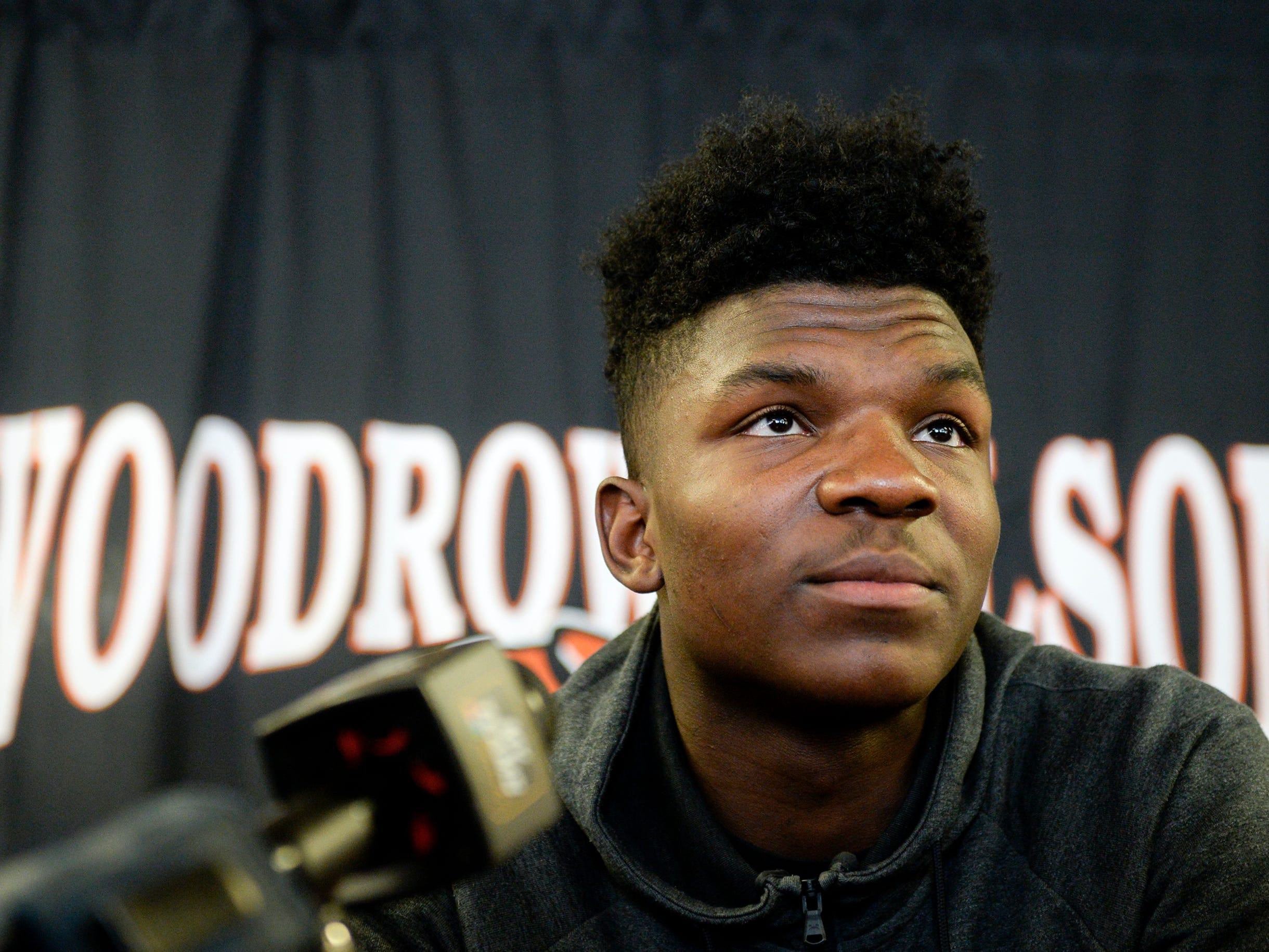 Woodrow Wilson wide receiver Stanley King announces he will continue his football career at Rutgers University Wednesday, Feb. 6, 2019 in Camden, N.J.