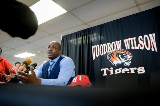 Woodrow Wilson head coach Preston Brown speaks with members of the media following wide receiver Stanley King's announcement to play for Rutgers University Wednesday, Feb. 6, 2019 at Woodrow Wilson High School in Camden, N.J.