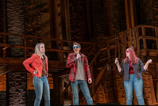 "Kelsey Boulay, Bryce Coreno and Brea Smith perform their original rap on stage during a trip to Pittsburgh to see ""Hamilton"""