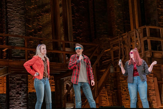"""Kelsey Boulay, Bryce Coreno and Brea Smith perform their original rap on stage during a trip to Pittsburgh to see """"Hamilton"""""""