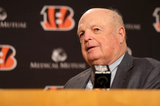 Cincinnati Bengals team president Mike Brown answers questions during a press conference announcing Zac Taylor as the 10th head coach in Cincinnati Bengals team history, Tuesday, Feb. 5, 2019, at Paul Brown Stadium in Cincinnati.