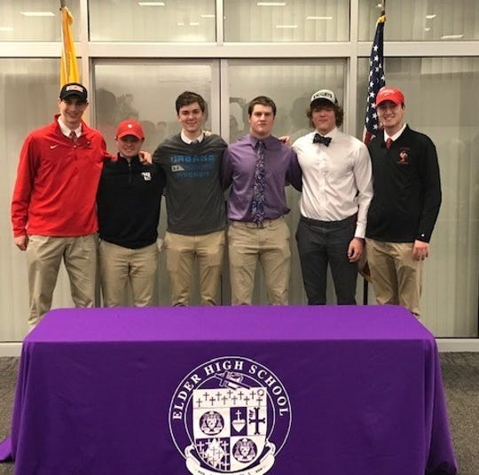 Elder athletes who signed Feb. 6 to play college athletics were, from left: Anthony Holmes, basketball, Otterbein University; Evan DiSanto, golf, Wittenberg University; Sam Hargett, volleyball, Urbana University; Jacob Hofmeyer, football, McKendree University; Zachary Bischoff, football, Marian University; Justin Haas, lacrosse, Otterbein University.