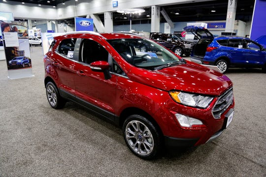 The 2019 Ford Ecosport at the Cincinnati Auto Expo inside the Duke Energy Convention Center in downtown Cincinnati on Wednesday, Feb. 6, 2019.