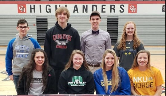 Oak Hills students signed letters of intent to play college sports. They are, from left: front, Hunter Keller, volleyball, Georgetown College; Kasey Bryant, volleyball, Ohio University – Chillicothe; Abby Hulsman, volleyball, Morehead State University and Shelby Wall, soccer, Northern Kentucky University; back, Aaron Tilford, golf, Ohio Christian University; Joey McPeek, baseball, University of Northwestern Ohio; Balor Appiarius, football, Capital University and Erin Kallmeyer, tennis, Mount Saint Joseph University