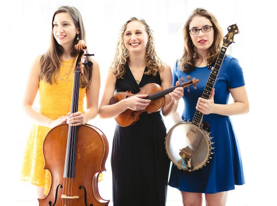 Harpeth Rising's, from left, Maria Di Meglio, Jordana Greenberg, and Michelle Younger will perform Feb. 8 at the Fairfield Community Arts Center.