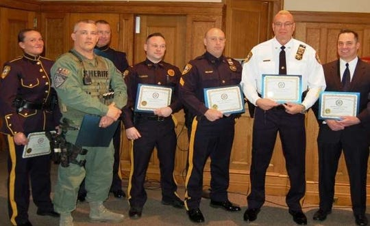 Recognized for their achievements as Somerset County Sheriff K-9 Officers are Shannon Snook, Al Bauer and David Daneker; and Lt. Thomas Carlucci, Sgt. Vincent Carrube, Lt. Donald Essig and Capt. Mark Szczecina.