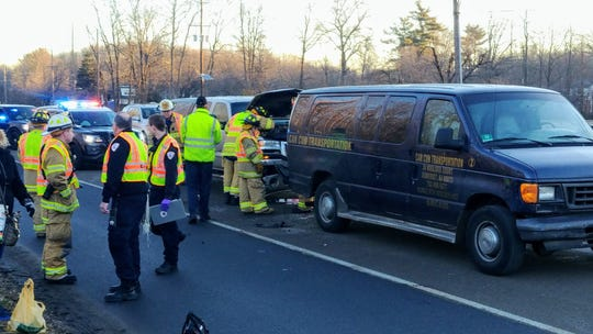 Eight people suffered non life threatening injuries in a three-vehicle crash on Route 130 in South Brunswick Wednesday morning.