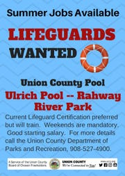 The Union County Board of Chosen Freeholders announced summer lifeguard positions are available at Union County's public swimming pool, the Walter Ulrich Memorial Pool at Rahway River Park in Rahway.