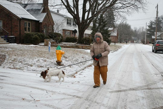 David Halblom walks his dog, Max, a 14-year-old Springer Spaniel, along 35th Street in the Beaverdale neighborhood on Wednesday, Feb. 6, 2019.
