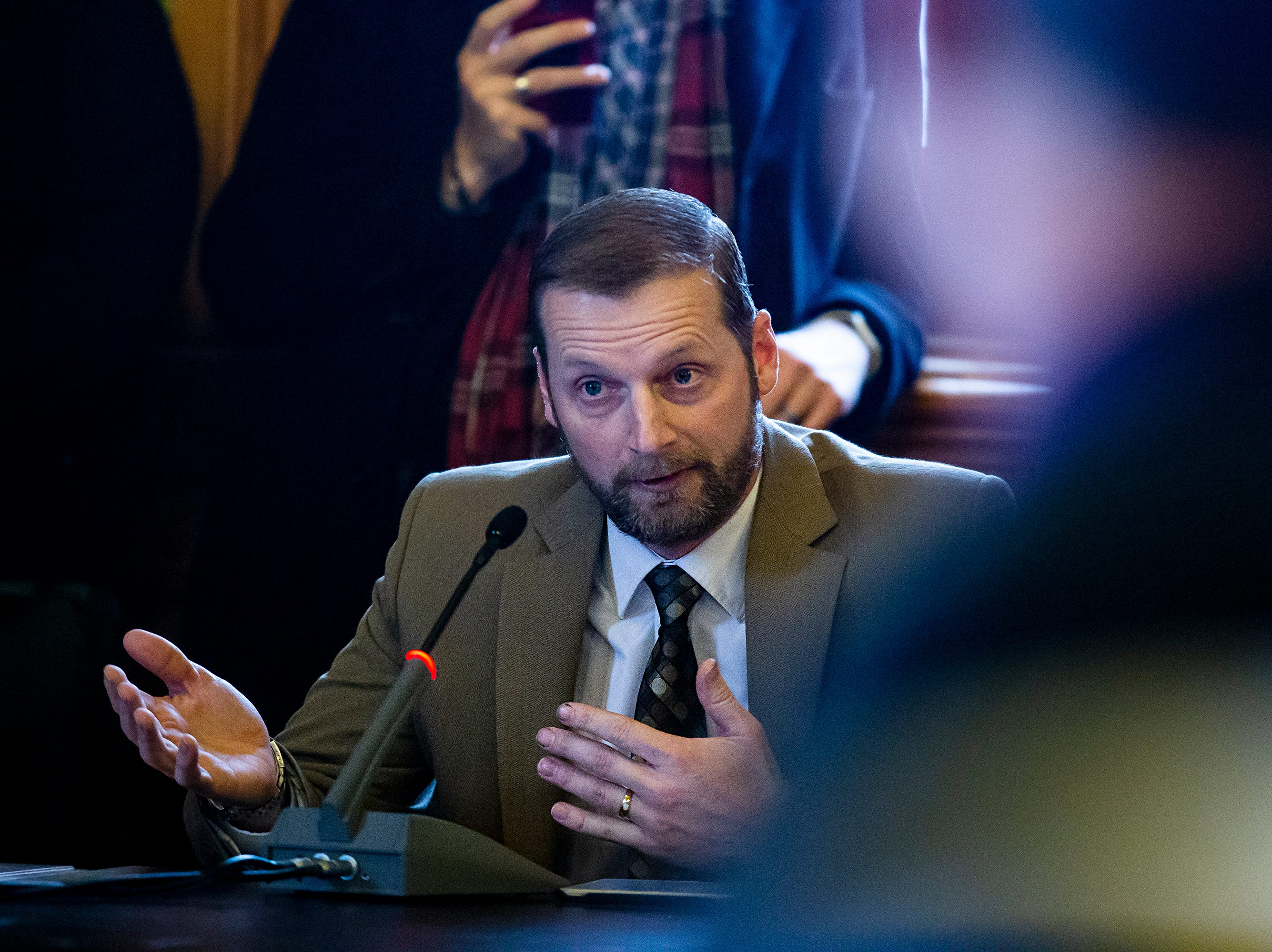 A.J. Potter, Pastor at Pleasantville Baptist Church, testifies in support of a joint resolution proposing the addition of language to the Iowa Constitution that would specify that the state does not secure or protect a right to abortion, Wednesday, Feb. 6, 2019, inside the Iowa Capitol in Des Moines.
