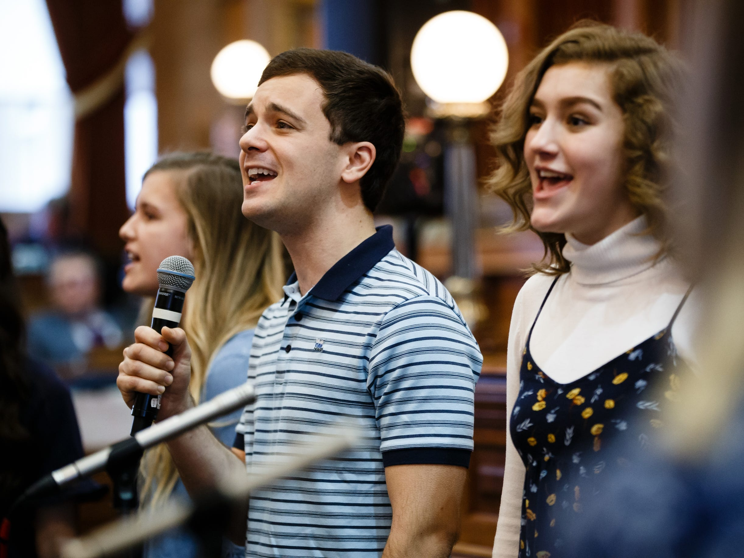 "Actor Stephen Christopher Anthony performs the song ""You Will Be Found"" from the Broadway show Dear Evan Hansen with the Waukee High School Avenue Jazz choir at the Iowa State Capitol on Wednesday, Feb. 6, 2019, in Des Moines."